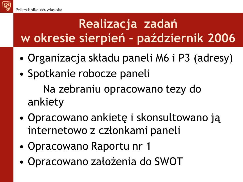 Realizacja zadań w okresie sierpień - październik 2006 Organizacja składu paneli M6 i P3 (adresy) Spotkanie robocze paneli Na zebraniu opracowano tezy