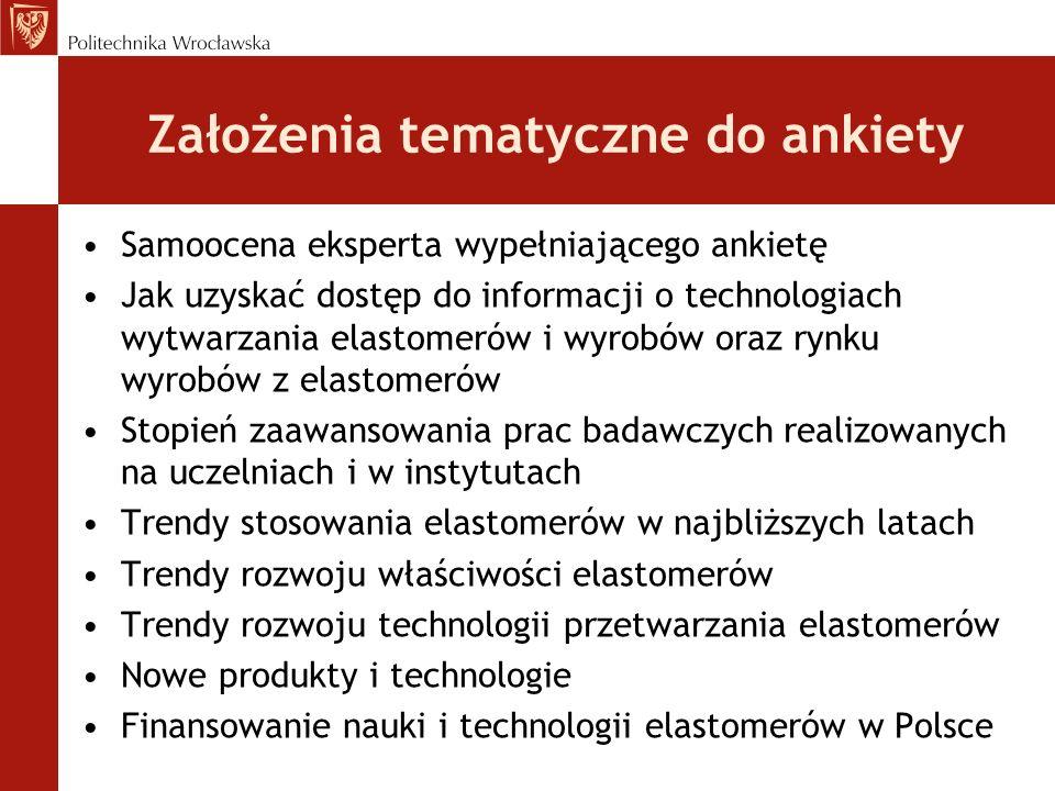 Założenia tematyczne do ankiety Samoocena eksperta wypełniającego ankietę Jak uzyskać dostęp do informacji o technologiach wytwarzania elastomerów i w
