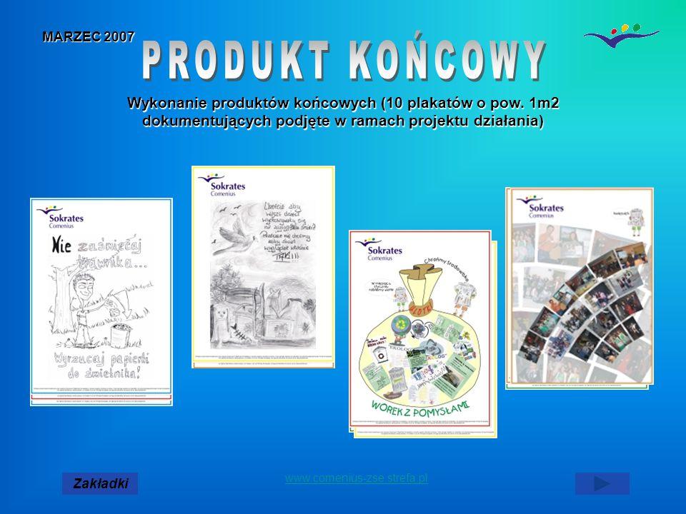 MARZEC 2007 Zakładki www.comenius-zse.strefa.pl Wykonanie produktów końcowych (10 plakatów o pow.