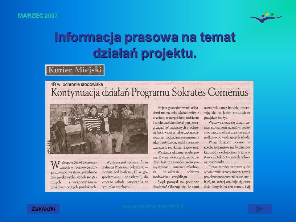Zakładki www.comenius-zse.strefa.pl Informacja prasowa na temat działań projektu.