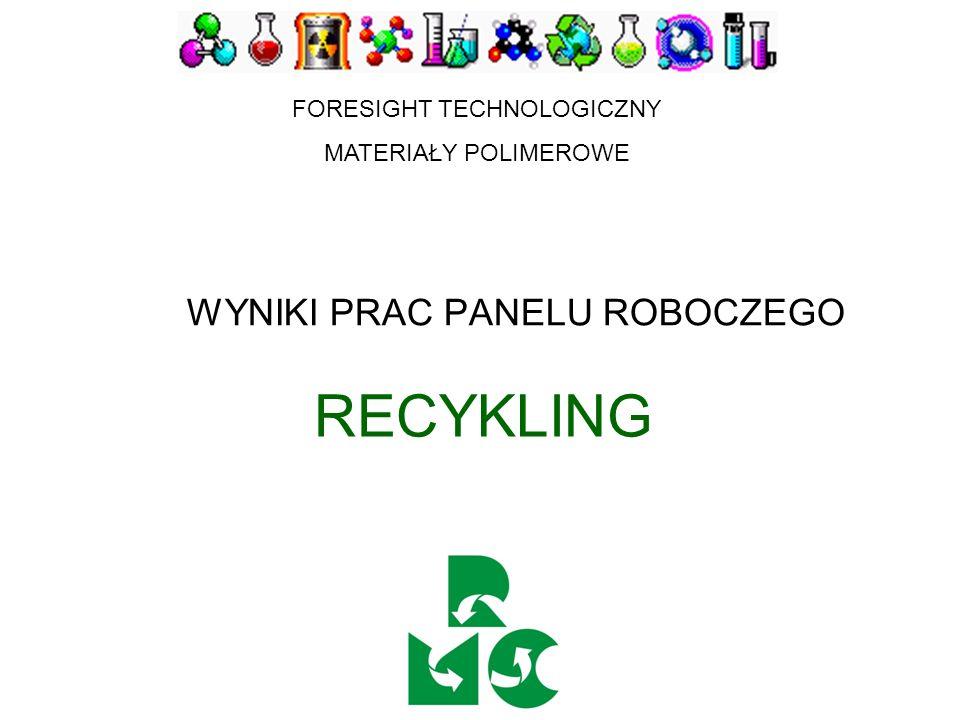 RECYKLING REKOMENDACJE DLA WDROŻENIA Ogłosić konkurs na grant zamawiany mający na celu wykonanie analizy techniczno-ekonomicznej instalacji sortujących odpady polimerowe i wskazanie rozwiązań zalecanych w polskich warunkach Intensyfikować badania w kierunku rozwoju tworzyw biodegradowalnych oraz infrastruktury sprzyjającej recyklingowi mechaniczno-biologicznemu Intensyfikować badania mające na celu poprawę jakości recyklatów przez kompatybilizację, tworzenie kompozytów i innowacyjne metody przetwórstwa Intensyfikować prace zmierzające do uruchomienia instalacji do spalania odpadów z odzyskiem energii SPOSÓB MONITOROWANIA WDRAŻALNOŚCI WYNIKÓW Ustalić wykaz priorytetowych zadań i harmonogram ich realizacji, z finansowaniem etapów zależnym od realizacji postawionych zadań Zalecić realizację przez konsorcja złożone z instytucji badawczych i przemysł