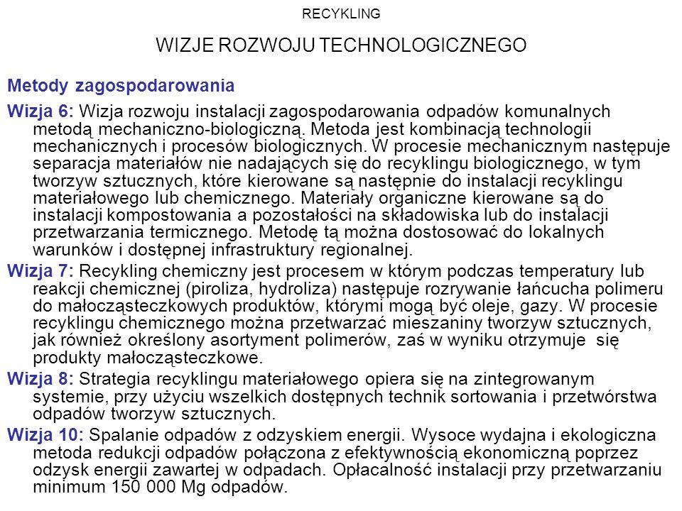 Metody zagospodarowania Wizja 6: Wizja rozwoju instalacji zagospodarowania odpadów komunalnych metodą mechaniczno-biologiczną. Metoda jest kombinacją