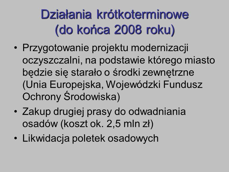 Działania krótkoterminowe (do końca 2008 roku) Przygotowanie projektu modernizacji oczyszczalni, na podstawie którego miasto będzie się starało o środ