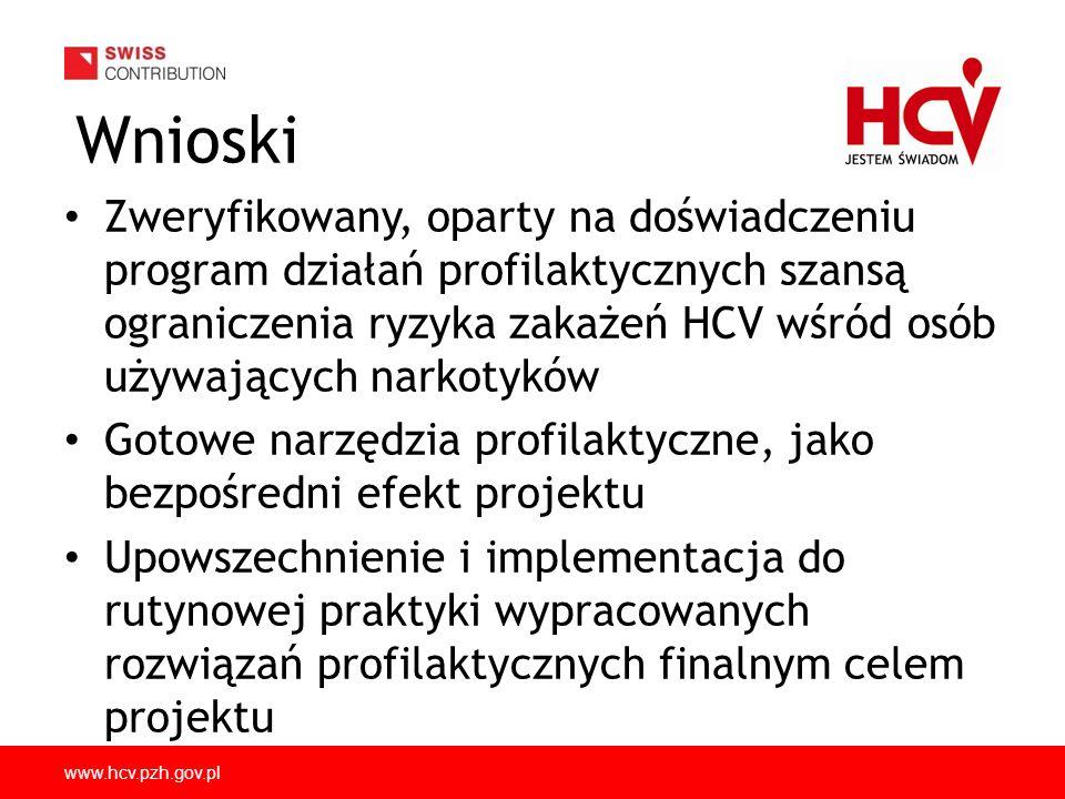 www.hcv.pzh.gov.pl Wnioski Zweryfikowany, oparty na doświadczeniu program działań profilaktycznych szansą ograniczenia ryzyka zakażeń HCV wśród osób używających narkotyków Gotowe narzędzia profilaktyczne, jako bezpośredni efekt projektu Upowszechnienie i implementacja do rutynowej praktyki wypracowanych rozwiązań profilaktycznych finalnym celem projektu