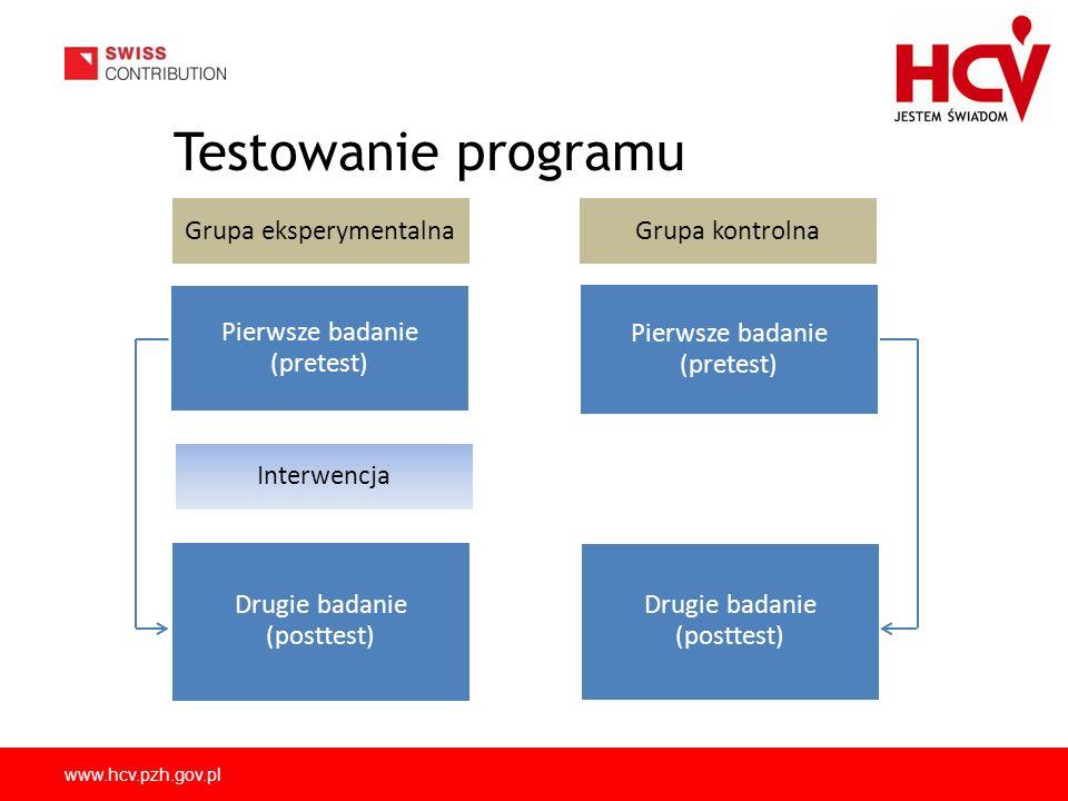 www.hcv.pzh.gov.pl Testowanie programu Pierwsze badanie (pretest) Grupa kontrolna Drugie badanie (posttest) Grupa eksperymentalna Interwencja