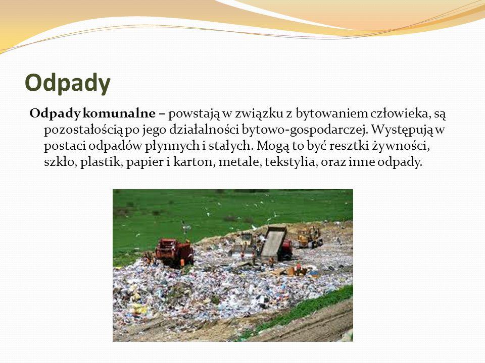Odpady Odpady komunalne – powstają w związku z bytowaniem człowieka, są pozostałością po jego działalności bytowo-gospodarczej. Występują w postaci od