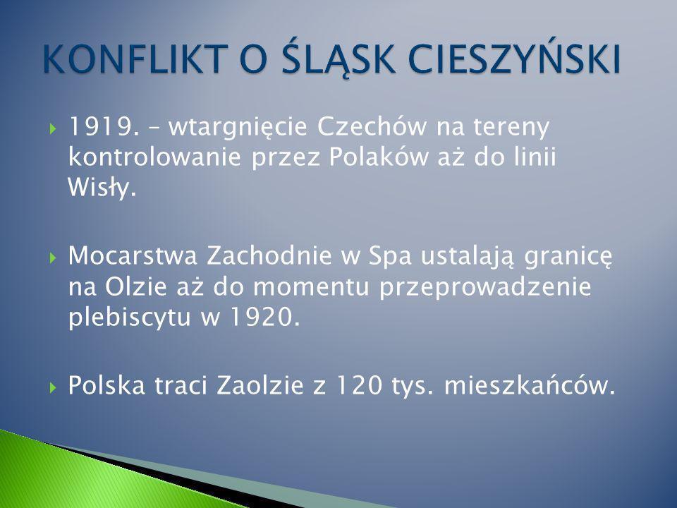 1919.– wtargnięcie Czechów na tereny kontrolowanie przez Polaków aż do linii Wisły.