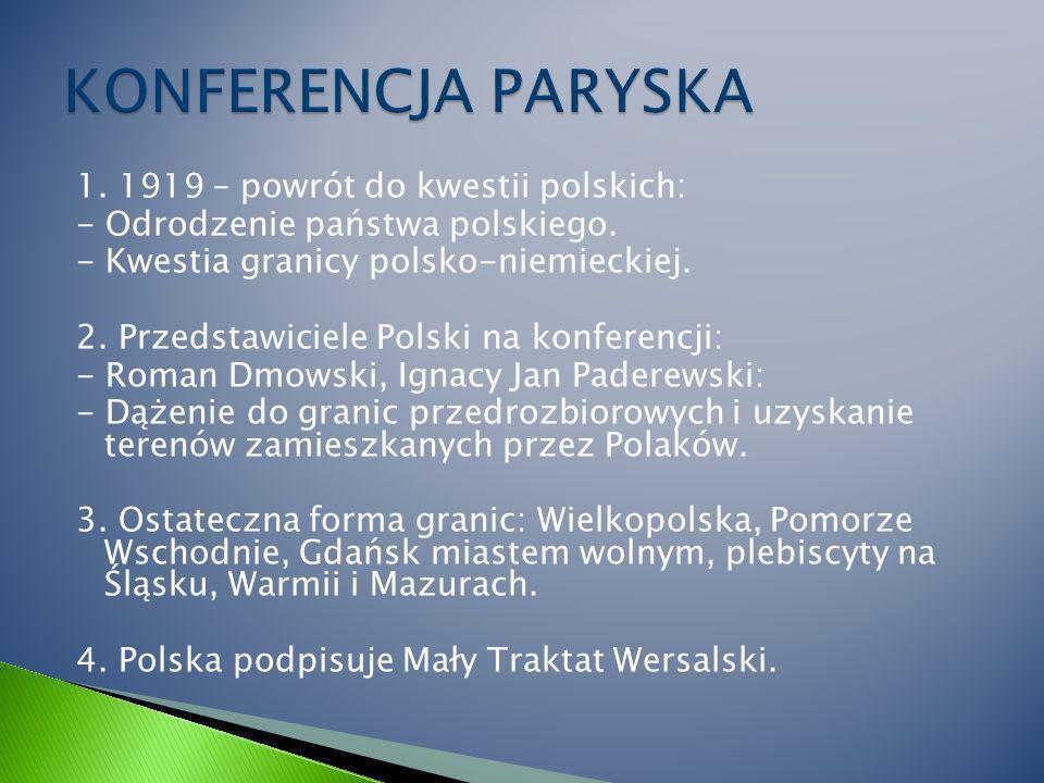 1.1919 – powrót do kwestii polskich: - Odrodzenie państwa polskiego.