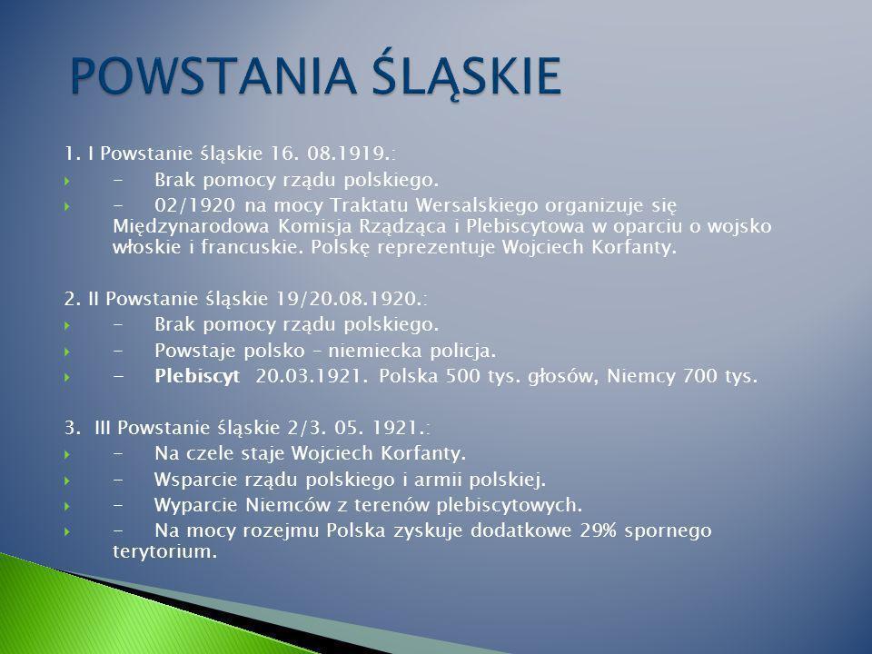 1.I Powstanie śląskie 16. 08.1919.: - Brak pomocy rządu polskiego.