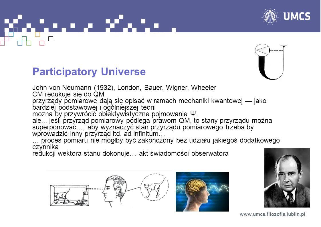 Participatory Universe John von Neumann (1932), London, Bauer, Wigner, Wheeler CM redukuje się do QM przyrządy pomiarowe dają się opisać w ramach mechaniki kwantowej jako bardziej podstawowej i ogólniejszej teorii można by przywrócić obiektywistyczne pojmowanie Ψ.