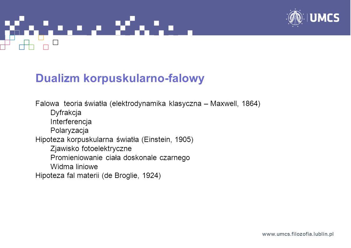Dualizm korpuskularno-falowy Falowa teoria światła (elektrodynamika klasyczna – Maxwell, 1864) Dyfrakcja Interferencja Polaryzacja Hipoteza korpuskularna światła (Einstein, 1905) Zjawisko fotoelektryczne Promieniowanie ciała doskonale czarnego Widma liniowe Hipoteza fal materii (de Broglie, 1924) www.umcs.filozofia.lublin.pl