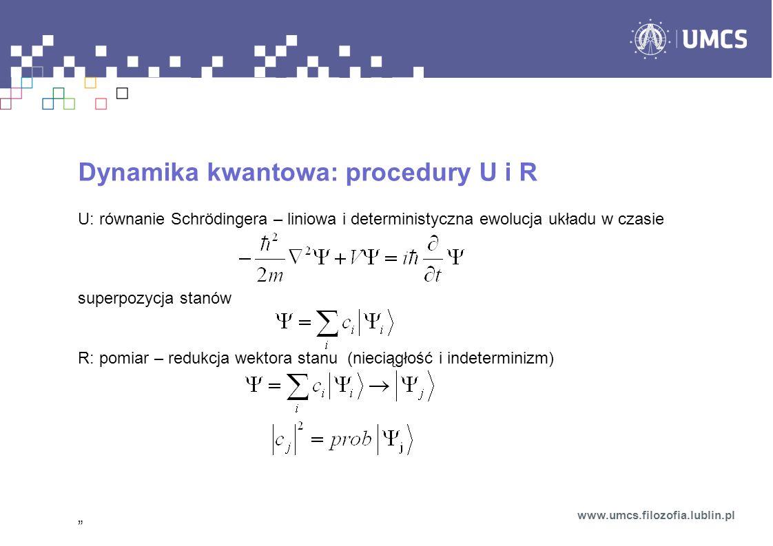 Dynamika kwantowa: procedury U i R U: równanie Schrödingera – liniowa i deterministyczna ewolucja układu w czasie superpozycja stanów R: pomiar – redukcja wektora stanu (nieciągłość i indeterminizm) www.umcs.filozofia.lublin.pl