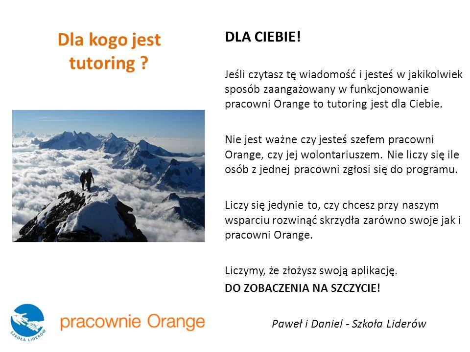 DLA CIEBIE! Jeśli czytasz tę wiadomość i jesteś w jakikolwiek sposób zaangażowany w funkcjonowanie pracowni Orange to tutoring jest dla Ciebie. Nie je