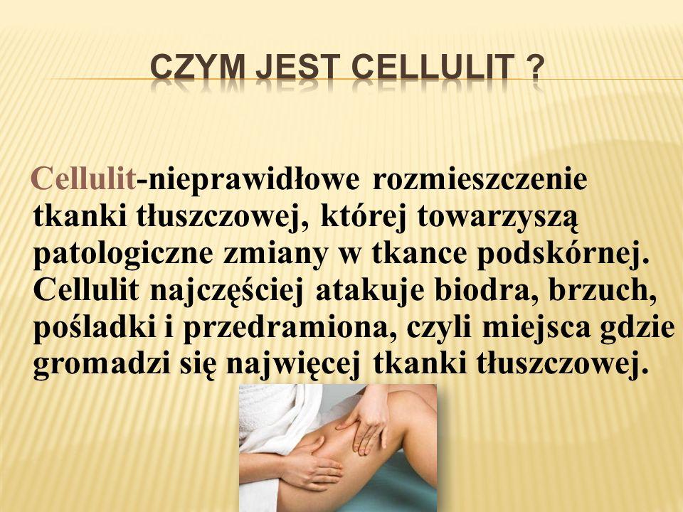 Cellulit-nieprawidłowe rozmieszczenie tkanki tłuszczowej, której towarzyszą patologiczne zmiany w tkance podskórnej. Cellulit najczęściej atakuje biod