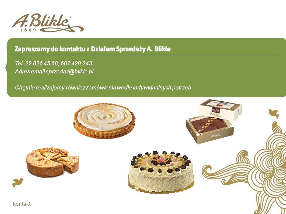 Tel. 22 826 45 68, 607 429 243 Adres email sprzedaz@blikle.pl Chętnie realizujemy również zamówienia wedle indywidualnych potrzeb. Kontakt