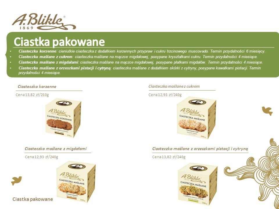 Ciastka pakowane Ciasteczka korzenne: cieniutkie ciasteczka z dodatkiem korzennych przypraw i cukru trzcinowego muscovado. Termin przydatności 6 miesi
