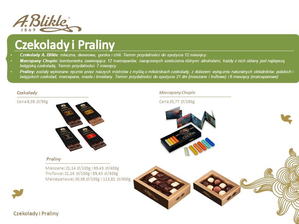 Czekolady i Praliny Czekolady A.Blikle: mleczna, deserowa, gorzka i chili.