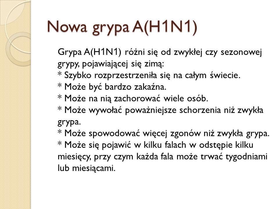 Nowa grypa A(H 1 N 1 ) Grypa A(H 1 N 1 ) różni się od zwykłej czy sezonowej grypy, pojawiającej się zimą: * Szybko rozprzestrzeniła się na całym świec