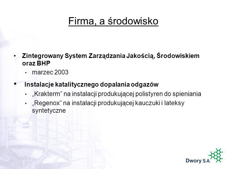 Firma, a środowisko Zintegrowany System Zarządzania Jakością, Środowiskiem oraz BHP marzec 2003 Instalacje katalitycznego dopalania odgazów Krakterm n