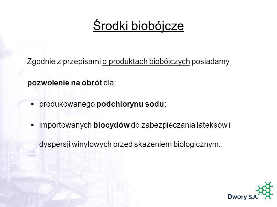 Środki biobójcze Zgodnie z przepisami o produktach biobójczych posiadamy pozwolenie na obrót dla: produkowanego podchlorynu sodu; importowanych biocyd