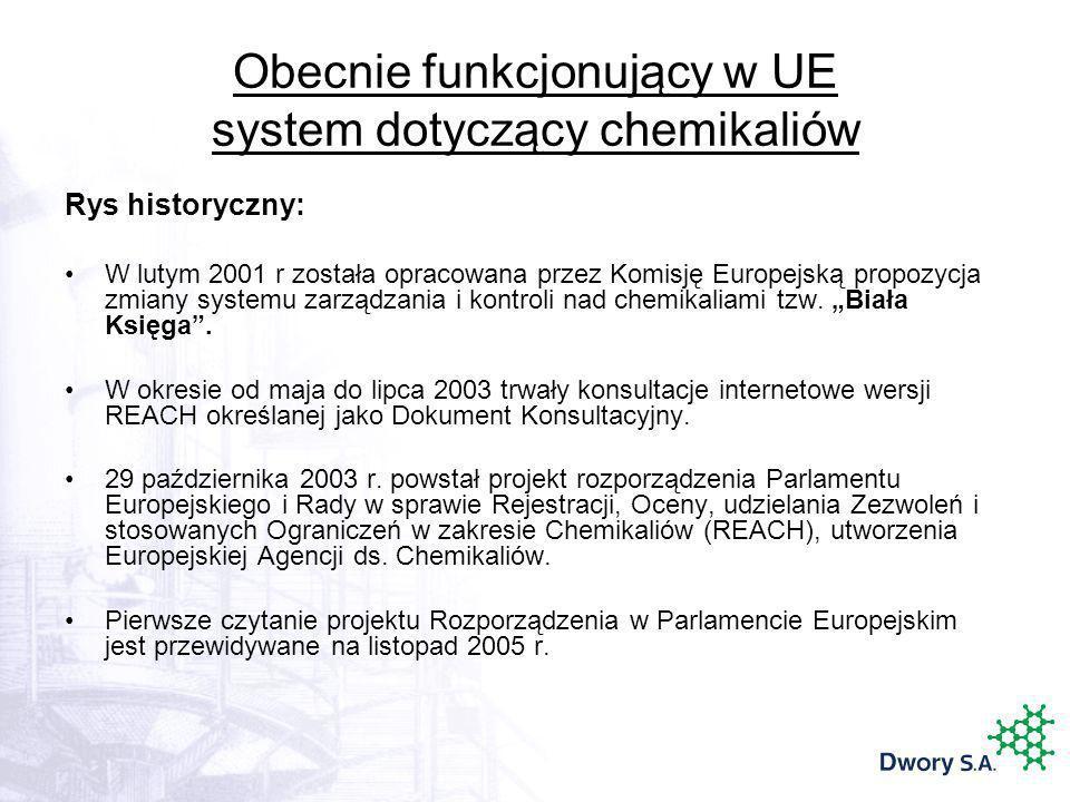 Obecnie funkcjonujący w UE system dotyczący chemikaliów Rys historyczny: W lutym 2001 r została opracowana przez Komisję Europejską propozycja zmiany