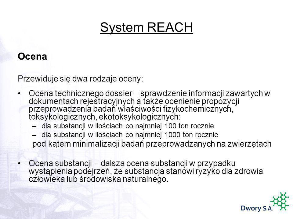 System REACH Ocena Przewiduje się dwa rodzaje oceny: Ocena technicznego dossier – sprawdzenie informacji zawartych w dokumentach rejestracyjnych a tak