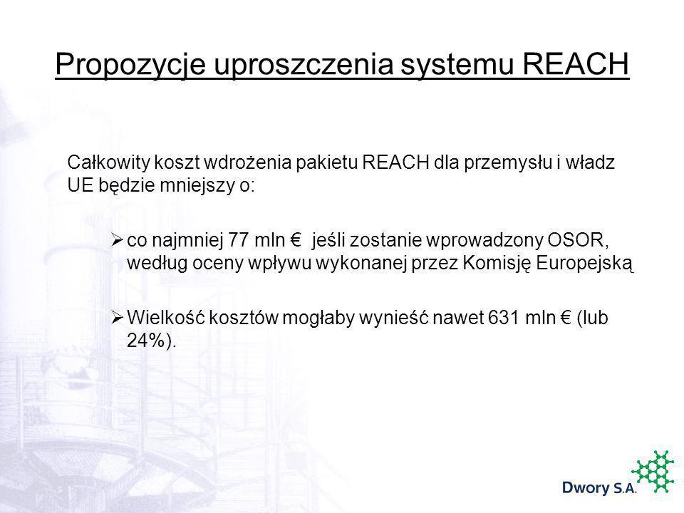 Propozycje uproszczenia systemu REACH Całkowity koszt wdrożenia pakietu REACH dla przemysłu i władz UE będzie mniejszy o: co najmniej 77 mln jeśli zos