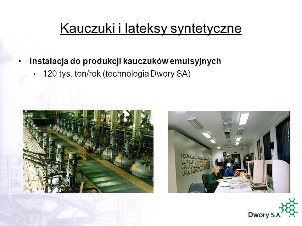 Kauczuki i lateksy syntetyczne Instalacja do produkcji kauczuków emulsyjnych 120 tys. ton/rok (technologia Dwory SA)