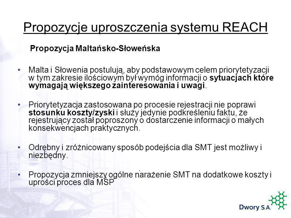 Propozycje uproszczenia systemu REACH Malta i Słowenia postulują, aby podstawowym celem priorytetyzacji w tym zakresie ilościowym był wymóg informacji