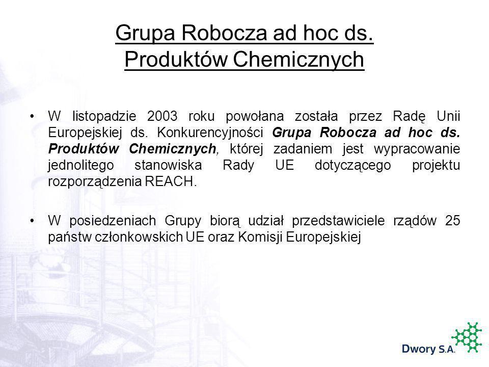 Grupa Robocza ad hoc ds. Produktów Chemicznych W listopadzie 2003 roku powołana została przez Radę Unii Europejskiej ds. Konkurencyjności Grupa Robocz