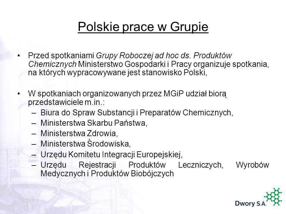 Polskie prace w Grupie Przed spotkaniami Grupy Roboczej ad hoc ds. Produktów Chemicznych Ministerstwo Gospodarki i Pracy organizuje spotkania, na któr