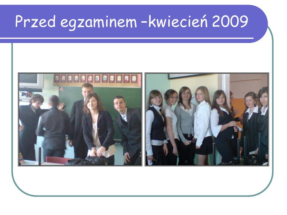 Przed egzaminem –kwiecień 2009