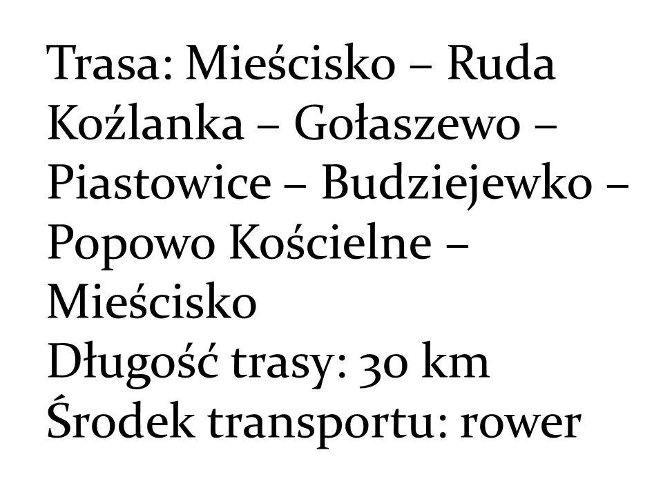 Trasa: Mieścisko – Ruda Koźlanka – Gołaszewo – Piastowice – Budziejewko – Popowo Kościelne – Mieścisko Długość trasy: 30 km Środek transportu: rower