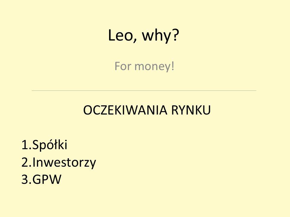 Leo, why For money! OCZEKIWANIA RYNKU 1.Spółki 2.Inwestorzy 3.GPW