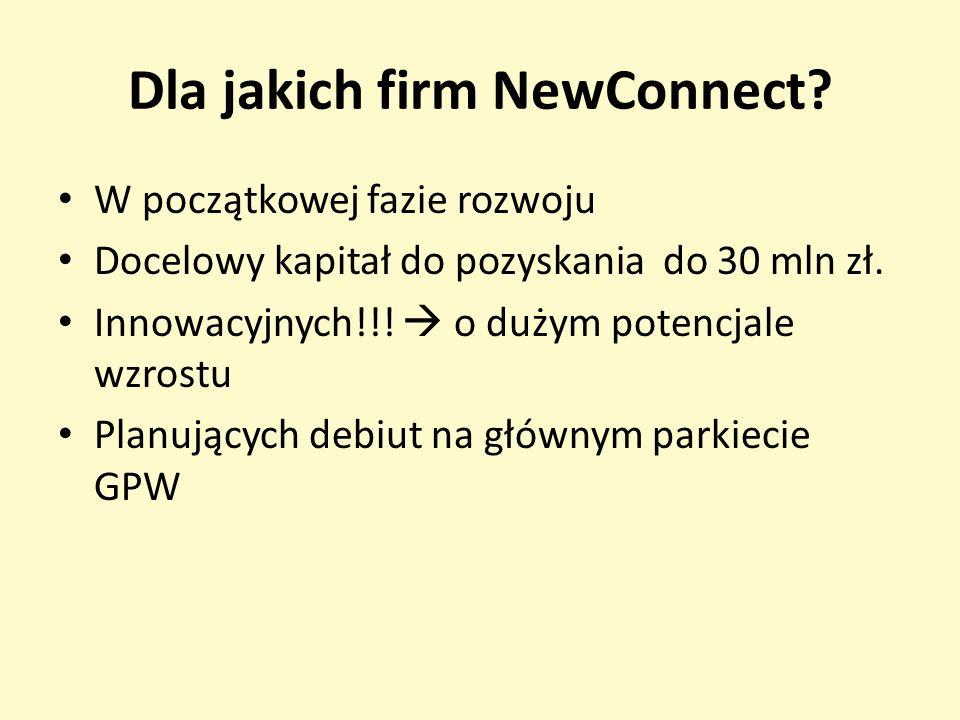 Dla jakich firm NewConnect? W początkowej fazie rozwoju Docelowy kapitał do pozyskania do 30 mln zł. Innowacyjnych!!! o dużym potencjale wzrostu Planu