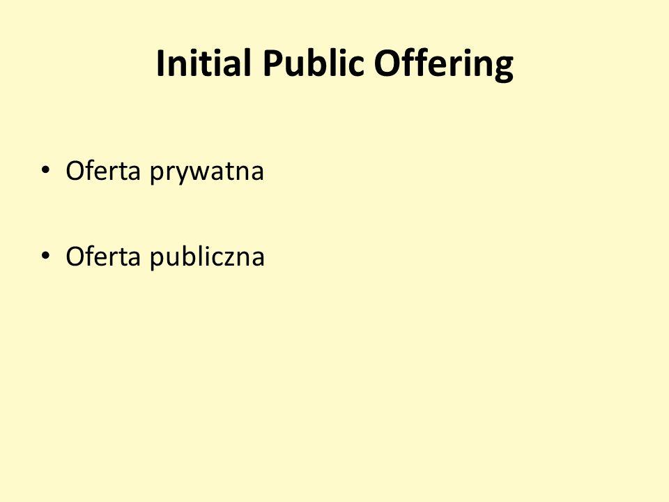 Initial Public Offering Oferta prywatna Oferta publiczna