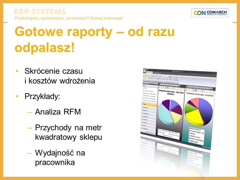 Produkujesz, sprzedajesz, zarządzasz? Zyskaj przewagę! Gotowe raporty – od razu odpalasz! Skrócenie czasu i kosztów wdrożenia Przykłady: –Analiza RFM