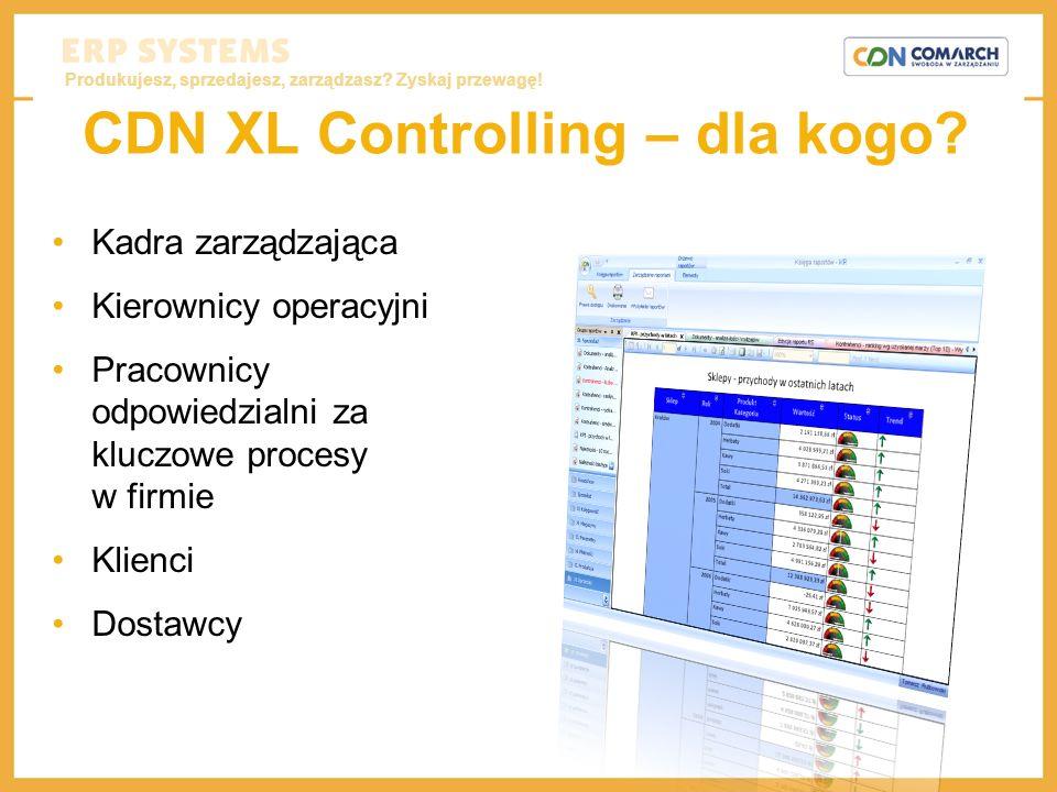 Produkujesz, sprzedajesz, zarządzasz? Zyskaj przewagę! CDN XL Controlling – dla kogo? Kadra zarządzająca Kierownicy operacyjni Pracownicy odpowiedzial