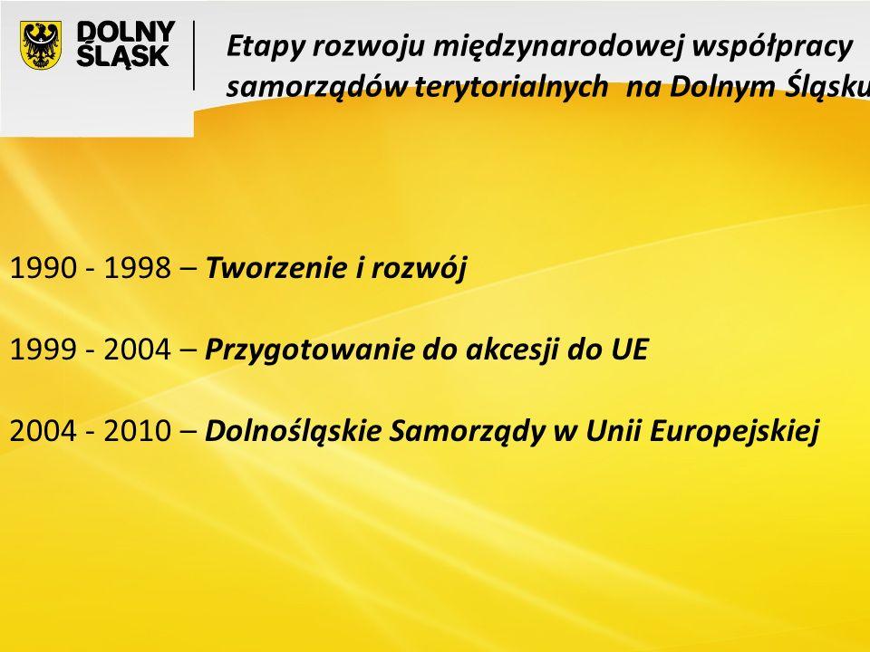 3 1990 - 1998 – Tworzenie i rozwój Nawiązywanie i rozwój kontaktów partnerskich pomiędzy gminami dolnośląskimi i ich partnerami w krajach europejskich i pozaeuropejskich.