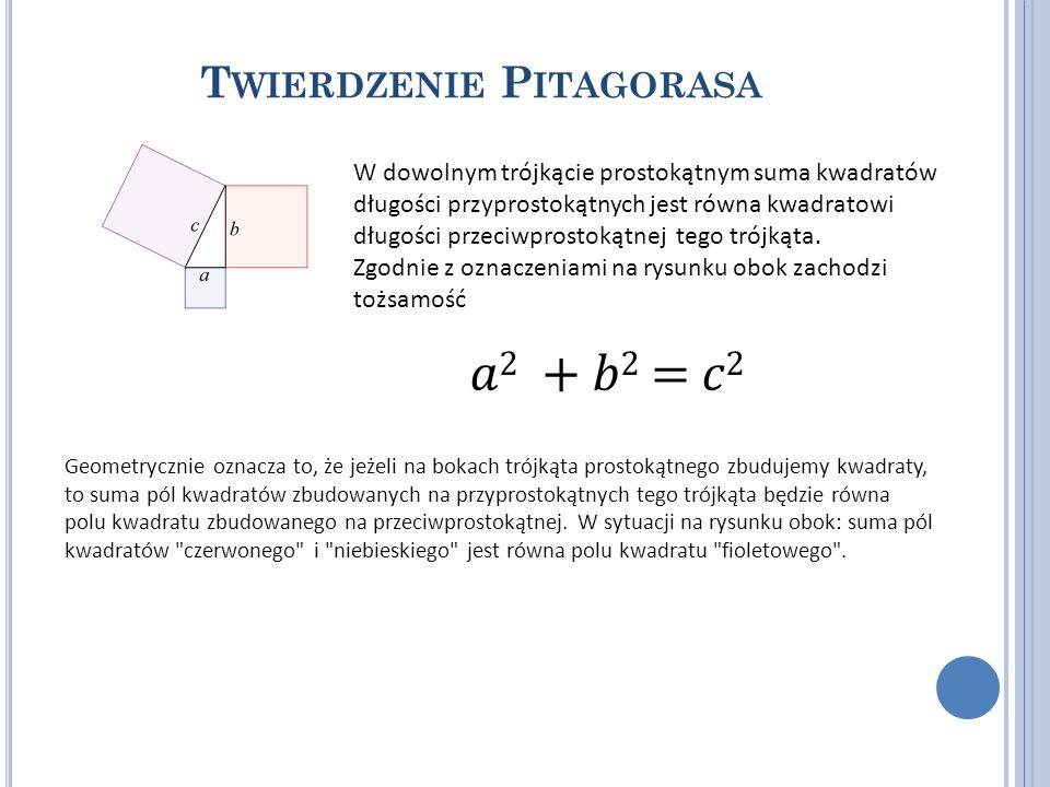 T WIERDZENIE P ITAGORASA W dowolnym trójkącie prostokątnym suma kwadratów długości przyprostokątnych jest równa kwadratowi długości przeciwprostokątne