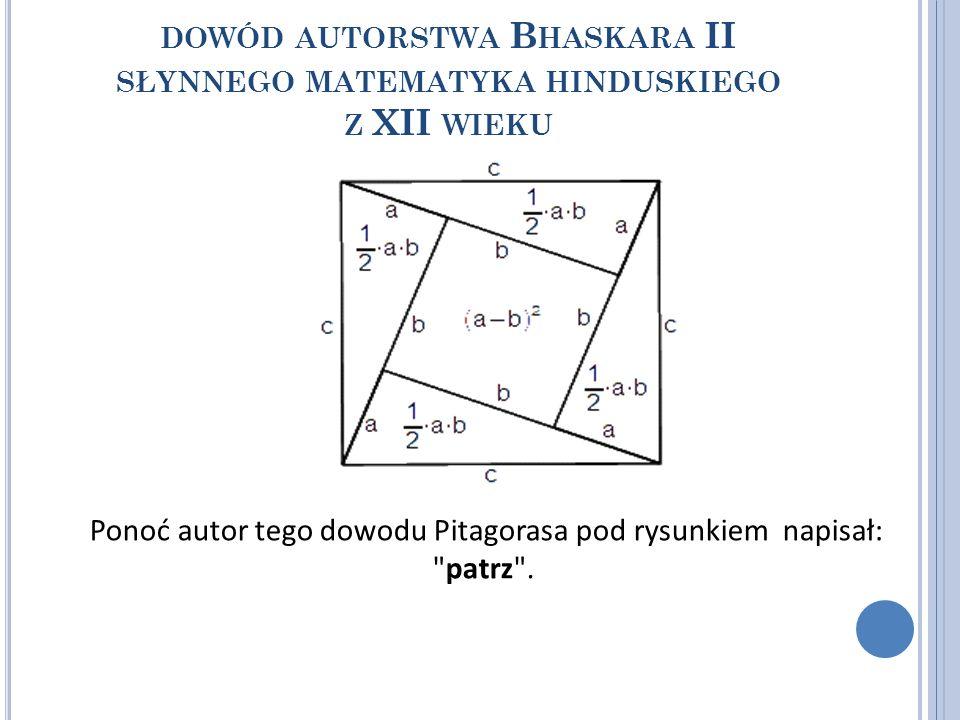 DOWÓD AUTORSTWA B HASKARA II SŁYNNEGO MATEMATYKA HINDUSKIEGO Z XII WIEKU Ponoć autor tego dowodu Pitagorasa pod rysunkiem napisał: