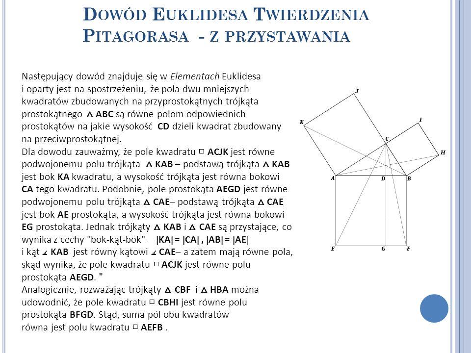 D OWÓD E UKLIDESA T WIERDZENIA P ITAGORASA - Z PRZYSTAWANIA Następujący dowód znajduje się w Elementach Euklidesa i oparty jest na spostrzeżeniu, że p