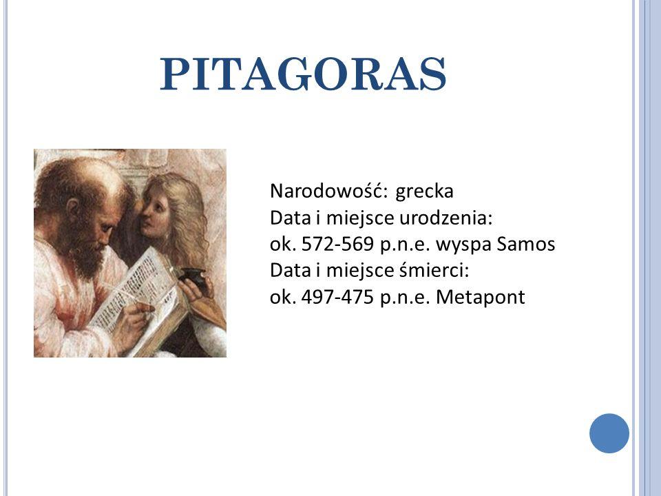 PITAGORAS Narodowość: grecka Data i miejsce urodzenia: ok. 572-569 p.n.e. wyspa Samos Data i miejsce śmierci: ok. 497-475 p.n.e. Metapont
