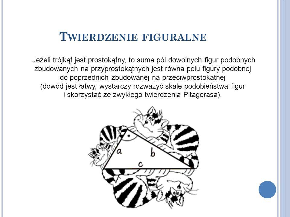T WIERDZENIE FIGURALNE Jeżeli trójkąt jest prostokątny, to suma pól dowolnych figur podobnych zbudowanych na przyprostokątnych jest równa polu figury