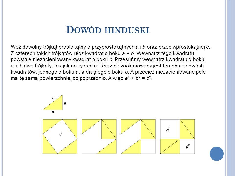 D OWÓD HINDUSKI Weź dowolny trójkąt prostokątny o przyprostokątnych a i b oraz przeciwprostokątnej c. Z czterech takich trójkątów ułóż kwadrat o boku