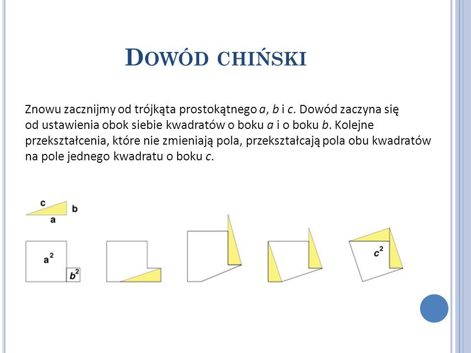 D OWÓD CHIŃSKI Znowu zacznijmy od trójkąta prostokątnego a, b i c. Dowód zaczyna się od ustawienia obok siebie kwadratów o boku a i o boku b. Kolejne