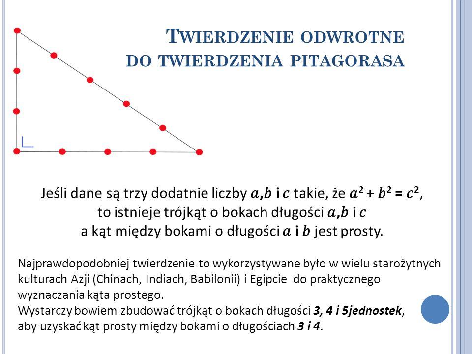 T WIERDZENIE ODWROTNE DO TWIERDZENIA PITAGORASA Jeśli dane są trzy dodatnie liczby, i takie, że 2 + 2 = 2, to istnieje trójkąt o bokach długości, i a