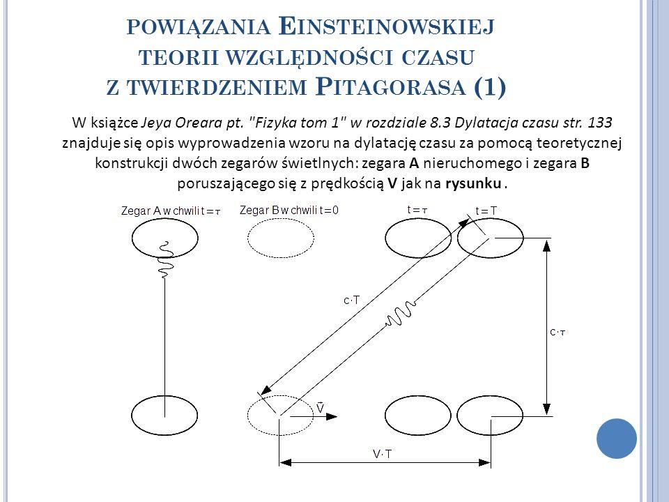 POWIĄZANIA E INSTEINOWSKIEJ TEORII WZGLĘDNOŚCI CZASU Z TWIERDZENIEM P ITAGORASA (1) W książce Jeya Oreara pt.