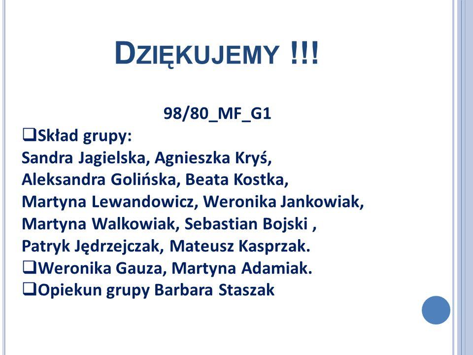 D ZIĘKUJEMY !!! 98/80_MF_G1 Skład grupy: Sandra Jagielska, Agnieszka Kryś, Aleksandra Golińska, Beata Kostka, Martyna Lewandowicz, Weronika Jankowiak,