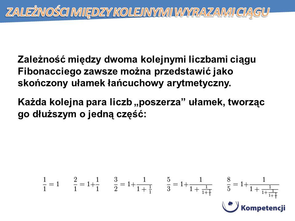 Zależność między dwoma kolejnymi liczbami ciągu Fibonacciego zawsze można przedstawić jako skończony ułamek łańcuchowy arytmetyczny.